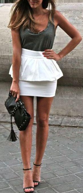 High Waisted Peplum Skirt