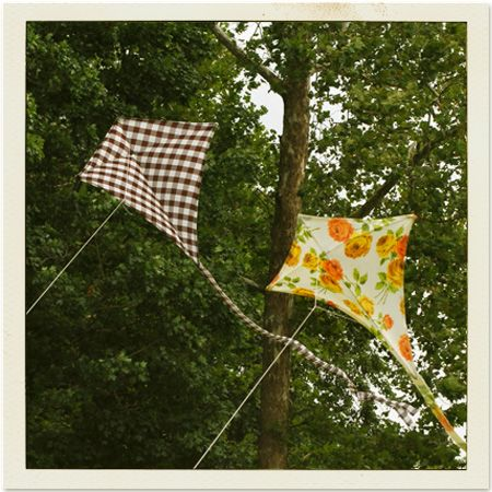 homemade fabric kites! My grandpa use to make me homemade kites. I think he made them out of butcher paper but I'll give this a try.