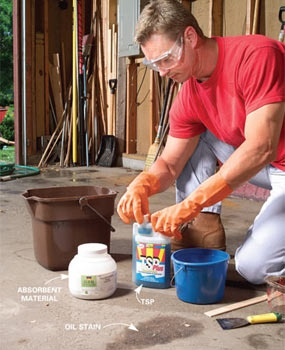 Step-by-step instructions on how to remove oil, grease, paint and rust stains from concrete surfaces