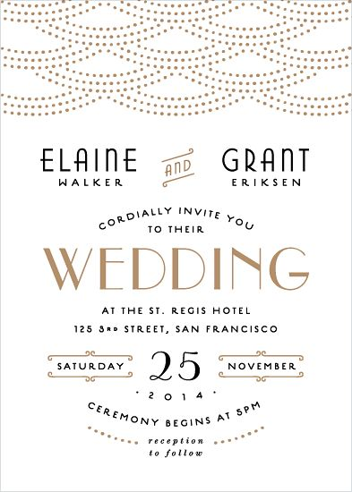 'Gold Glamour' wedding invite by Hooray Creative for Minted's letterpress challenge