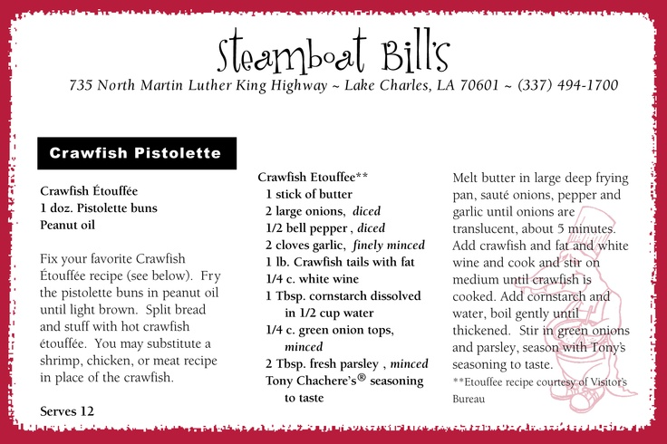 Crawfish Pistolette Recipe- from Steamboat Bills in LakeCharles, Louisiana #visitlakecharles I had the shrimp version on a recent visit to Steamboat Bills--DELICIOUS