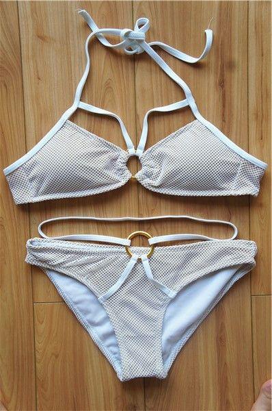 2015 New Arrival Metal Ring Swimwear women Halter Bikini set High Quality Removable Padded Swimsuit Double lined Bikinis