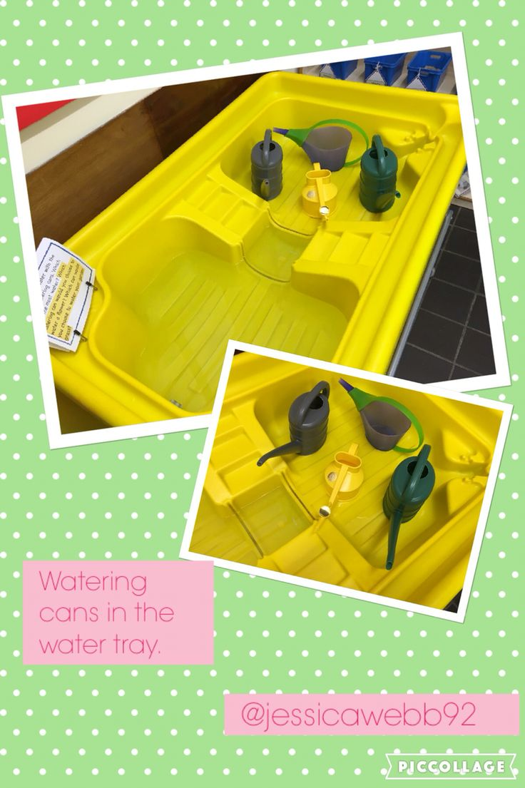 Exploring different watering cans and different nozzles in the water area. EYFS