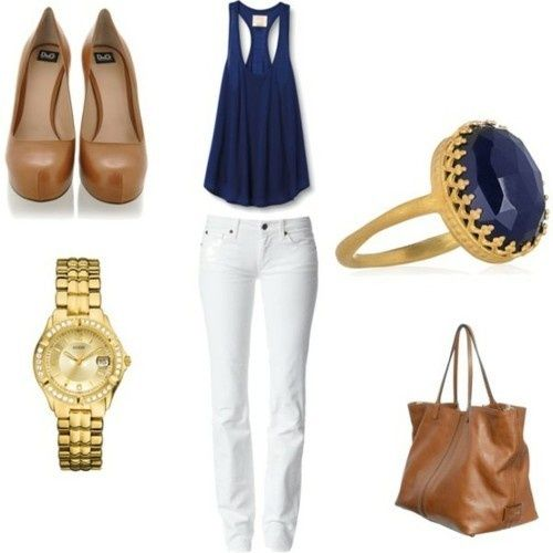 navy navy navy: Colors Combos, Outfits, White Skinny, Fashion, Style, Clothing, White Pants, Currently, White Jeans