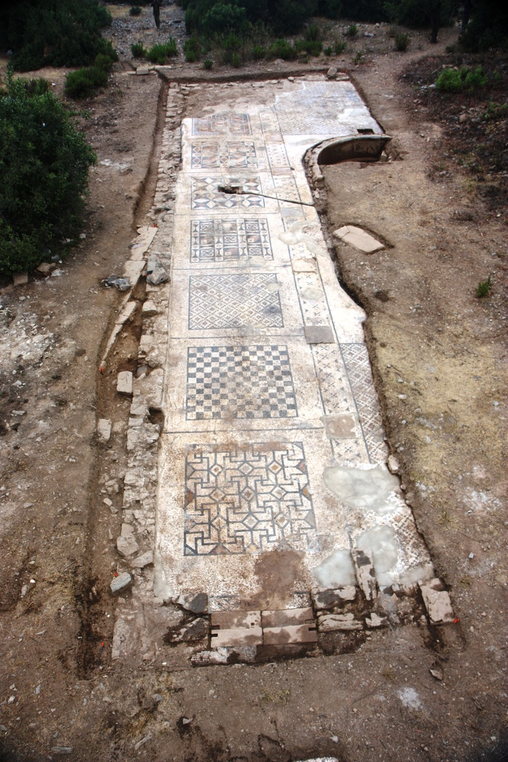 University of Nebraska–Lincoln archaeological team unearths giant Roman mosaic in southern Turkey. The mosaic is near a third-century imperial temple in the city of Antiochia ad Cragum, also known as Antiochetta (small Antiochia), near Antalya. An overhead perspective of the roughly 40 percent of the mosaic uncovered so far. Researchers expect its total area to be about 1,600 square feet when fully unearthed in the summer of 2013