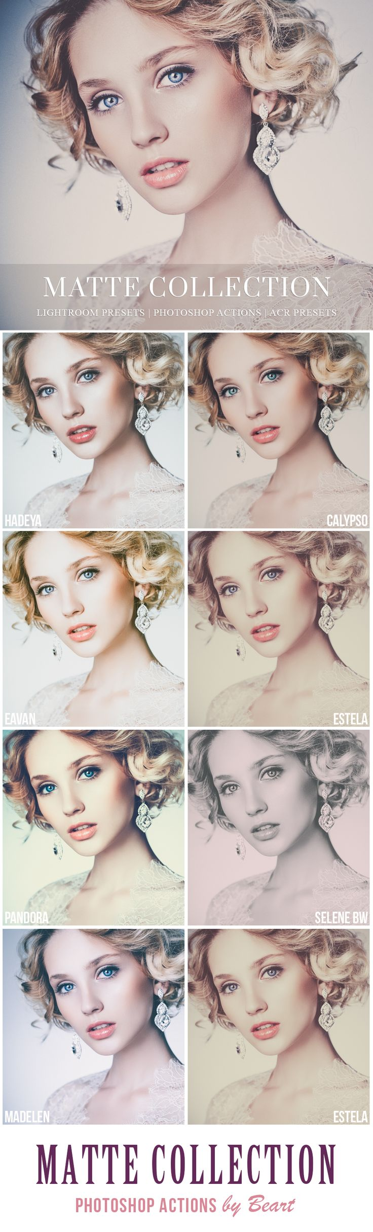 These Photoshop actions create the most perfect matte portraits from @BeArtpresets. Collection includes 40 stunning presets. Perfect for portrait and wedding photography | www.beart-presets.com