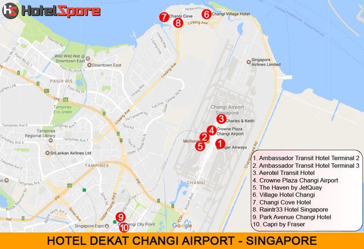 Ini adalah peta hotel dekat Bandara Singapore - Changi Airport. Jika anda ingin menginap di hotel dekat bandara di Singapore, sebaiknya memilih salah satu diantara 10 hotel ini. Ada hotel dalam area bandara, ada yang berada di luar area bandara. Ada hotel transit dan ada hotel harian. Semuanya diulas lengkap dalam Hotelspore.