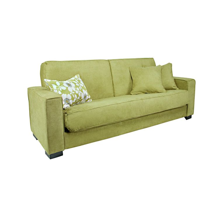 The Portfolio Gilda Convert-a-Couch features a transitional designed sofa sleeper with extra-wide squared arm design for additional comfort. The Gilda futon sleeper sofa is covered in a plush chenille green meadow velvet fabric.