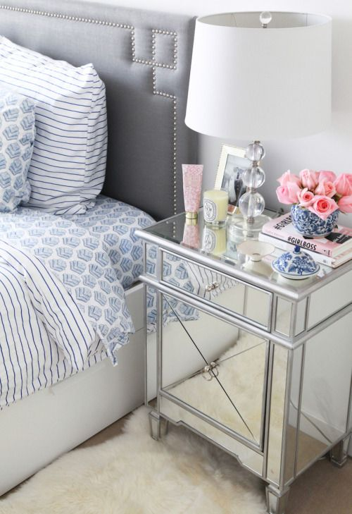 mirrored night stands add the perfect glam touch