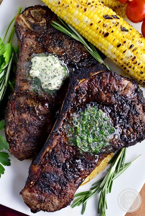 Perfect Grilled Steak with Herb Butter features a homemade dry rub and melty herb butter finish. Absolutely mouthwatering! #glutenfree   iowagirleats.com