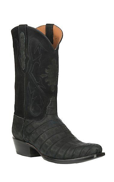 1feaaa8e107 Black Jack Men's Black Suede Caiman Belly Exotic Punchy Toe Boots ...