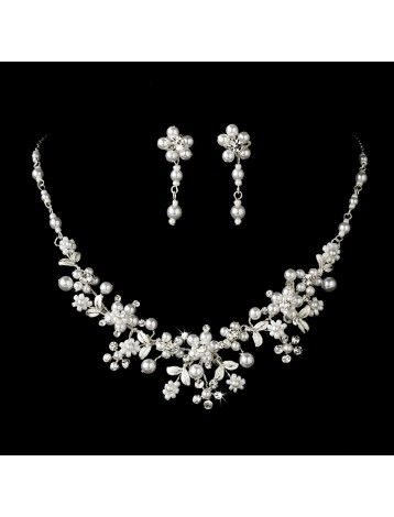 SILVER PEARL & CRYSTAL FLORAL NECKLACE & EARRING SET - BRIDAL WEDDING JEWELLERY - Wedding Jewellery Sets - Wedding Jewellery Sets - Wedding Jewellery - Wedding Accessories