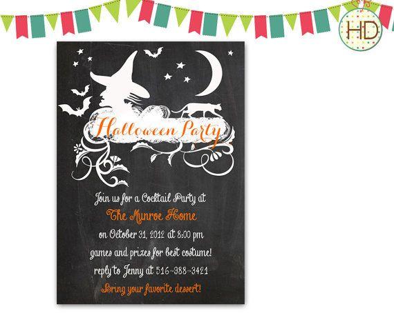 Chalkboard Halloween Invitation Halloween by HDInvitations on Etsy