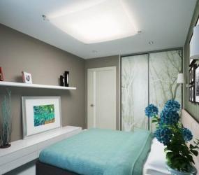 Использование нежно-голубых тонов в спальне