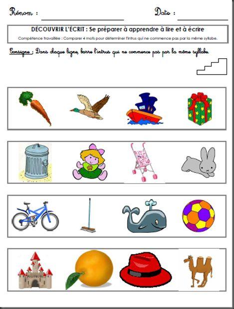 L'enfant doit comparer des mots pour identifier l'intrus qui ne commence pas par la même syllabe parmi les quatre illustrations.
