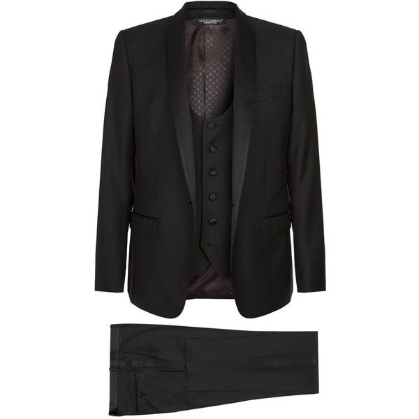 Dolce & Gabbana Three Piece Tuxedo ($3,040) ❤ liked on Polyvore featuring men's fashion, men's clothing, men's suits, mens 3 piece suits, mens formal suits, mens white suit, mens tailored suits and dolce gabbana mens clothing