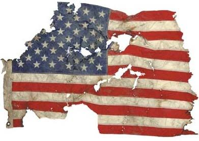 The Flag from the World Trade towers survives and becomes a symbol of sacrifice in service, loss, and determination.