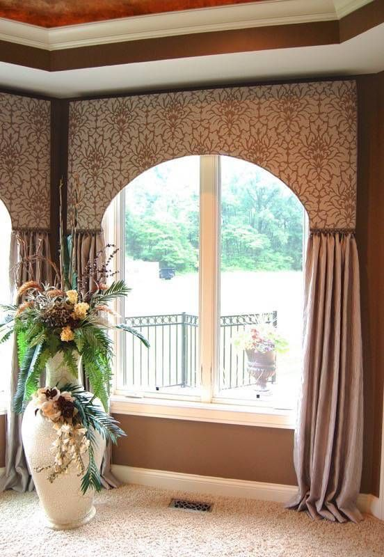 Arched Cornice with Gathered Side Panels in 2019  CORNICE BOARDS  Blinds Curtains with blinds
