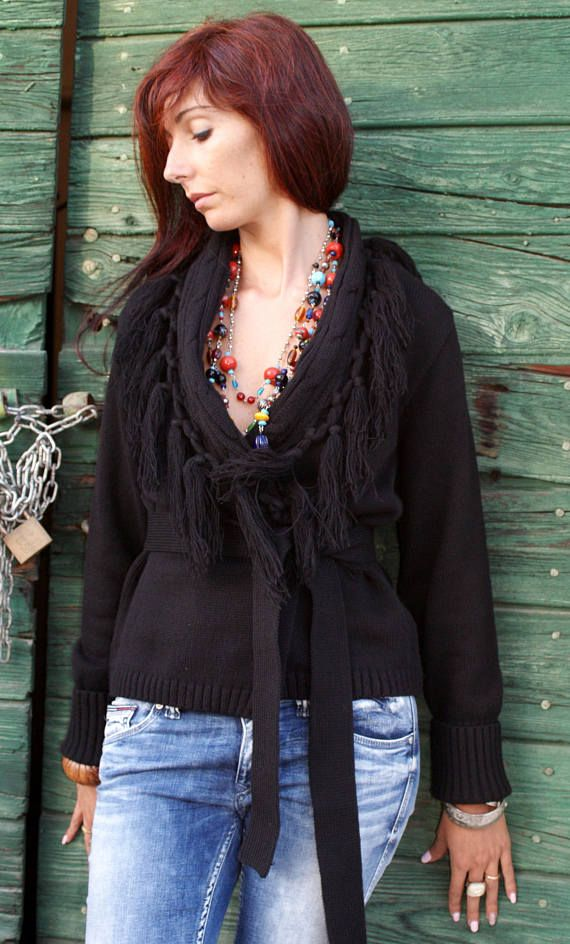 Belt Cardigan, Wool Cardigan, Fringed, Tassels, Black, Wool, Winter, Boho, Gypsy, Hippie, Festival, Casual, Size S/M