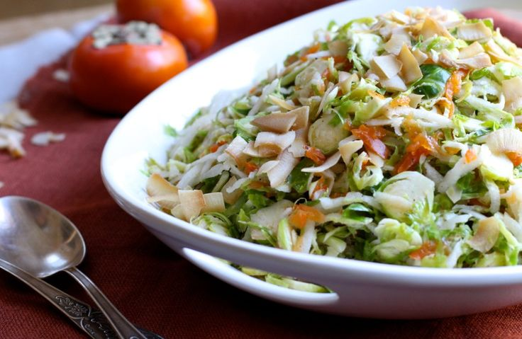 Shredded Brussels Sprouts Salad with Persimmon, Jicama, and Coconut Chips   From Jessica's Kitchen