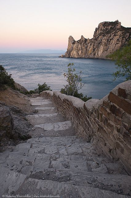 "Crimea, Ukraine ~ Rocky coastline of ""Novyi Svet"" recreation area at sunrise."