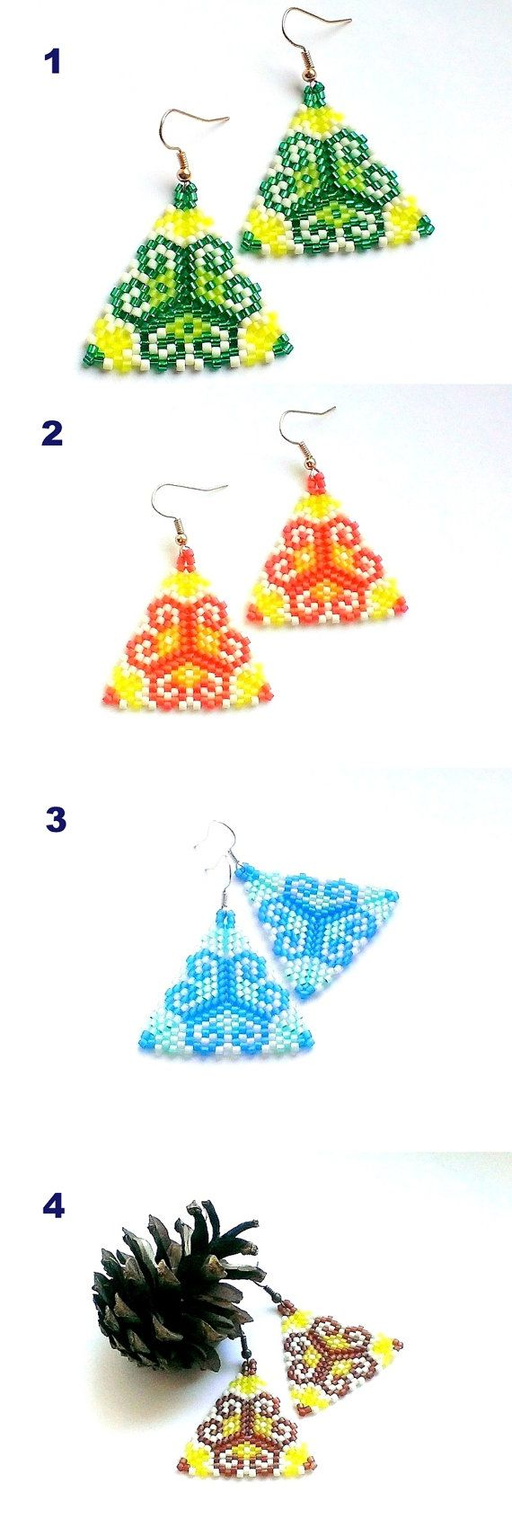 Triangle Earrings-Seed Bead Earrings-Delica Beaded от Galiga