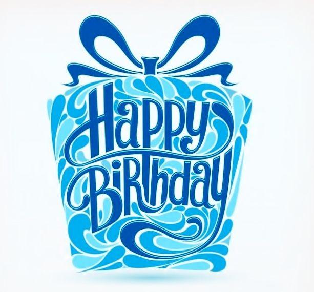 Happy Birthday . blue gift