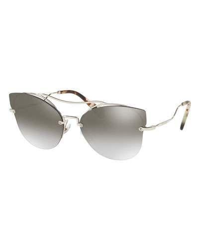 4125e45a5 Miu Miu Scenique Rimless Monochromatic Brow-Bar Sunglasses ...
