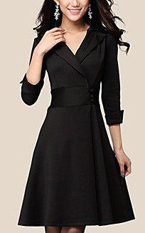 Elegant Lapel Wrap Dress with Buttons
