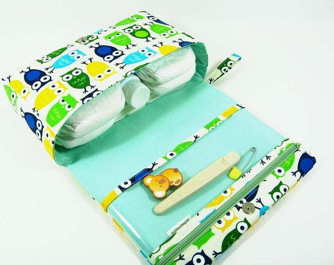 Monedero de pañal buhos para nuevos padres, organizador del bolso del pañal, pañal verde embrague con bolsa de la cremallera claro, bolsa bebé, bolsa de pañal