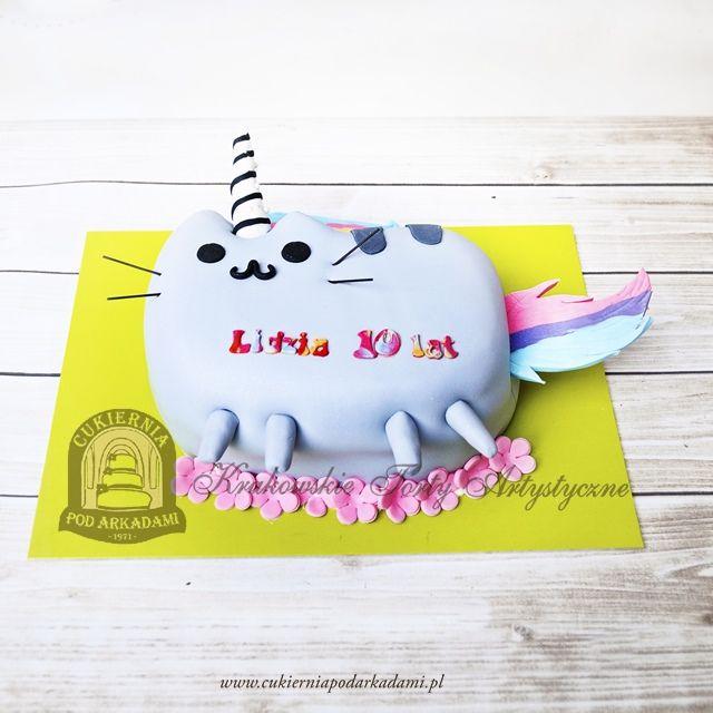 206BD Tort facebookowy kot Pusheen - wersja jednorożec Pusheenicorn. Pusheenicorn cake.