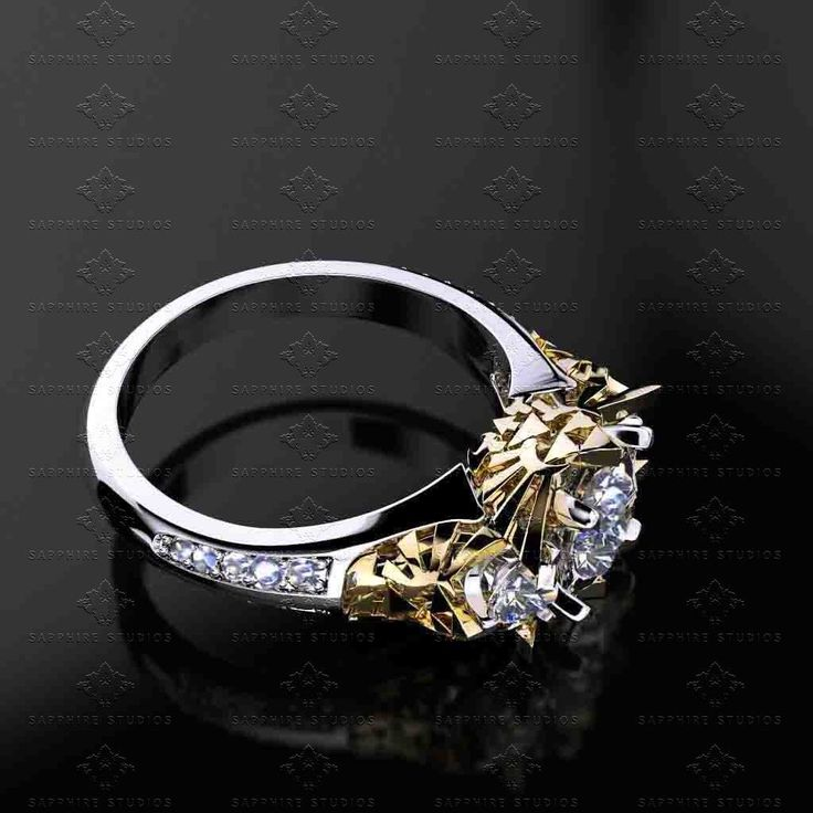 Zelda-Trio-Diamond-White-Gold-Zelda-Engagement-Ring