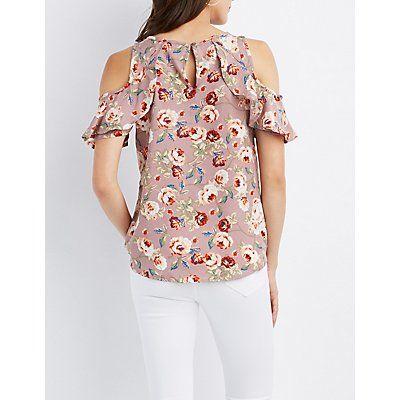 Floral Ruffle-Trim Cold Shoulder Top