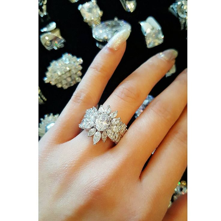 A Girl Can Day Dream  & Dreams Do Come True  - . . . Crystal Baguette and Marquis Rhodium Plated Floral Engagement or Cocktail Ring  Shop in Store or DM us for shipping and prices  #ShopArtemis #cocktailring #engagementring