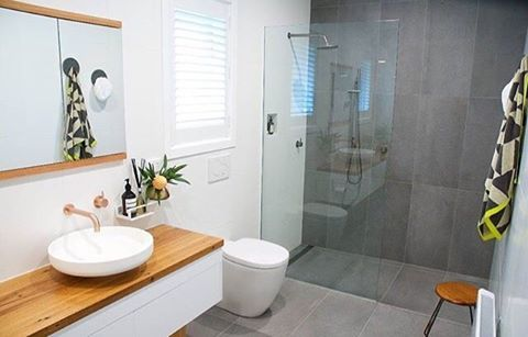 We love this beautiful bathroom featuring our Venice 450 basin! It's paired perfectly with lovely Scala tapware by @sussextaps and a white vanity with timber top. A white and grey colour palette with a touch of timber is simply divine! ❤️ RP @reecebathrooms