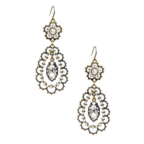 Pearl + Crystal Floral Filigree Earrings You can get earrings like this and much more at Jewelry with Jessica or any other time you shop with her and Chloe and Isabel at https://www.chloeandisabel.com/boutique/jessicabilcliff