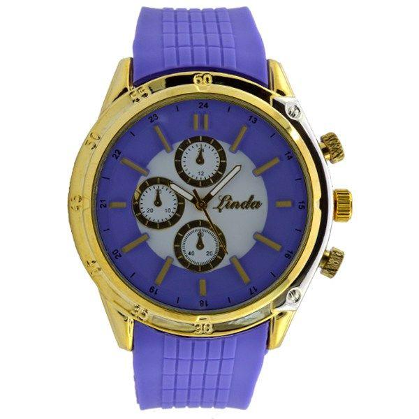 Γυναικείο ρολόι με λουρί σιλικόνης μωβ 032