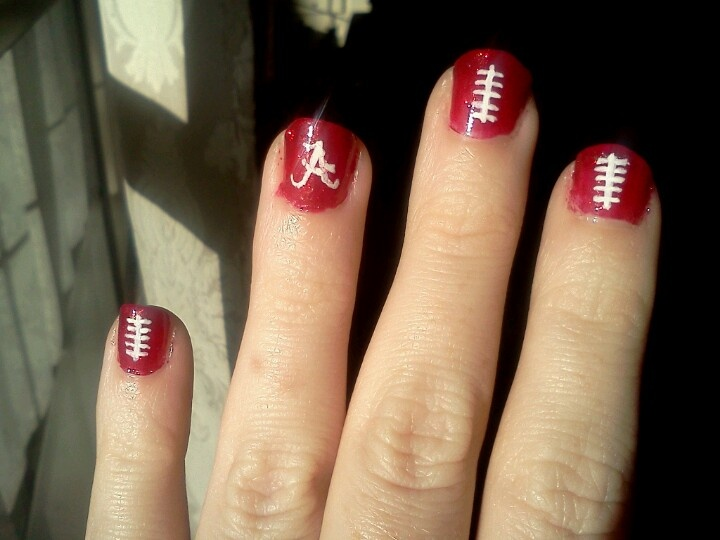 Alabama Crimson Tide football nails. Paint your nails crimson and use a white paint pen to do your details. Roll tide!