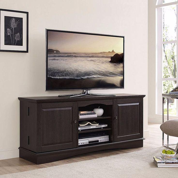 "Media Cabinet Console For TVs Up To 60"" Large Side Center Storage Wood Espresso #WalkerEdison #Transitional"
