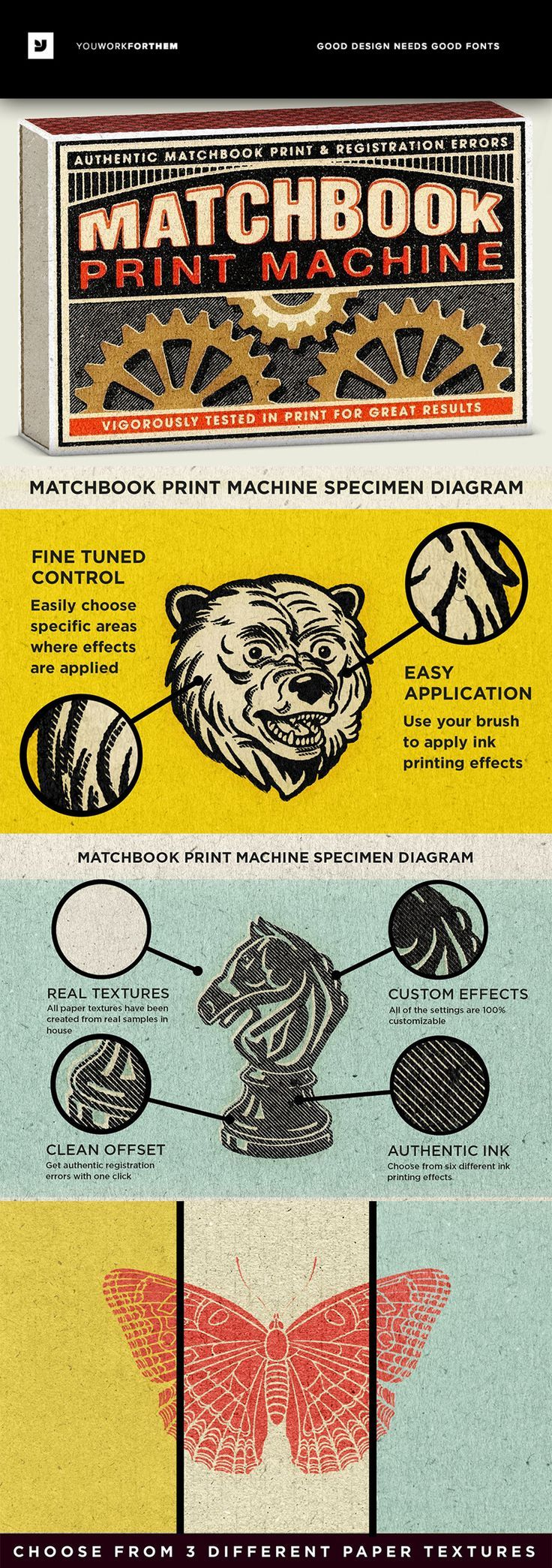 #affiliate This easy to use Smart PSD uses smart objects, and cleverly set up files, to make it easy to create retro matchbook print effects with a few clicks. These effects look extremely realistic and allow you to tweak the intensity of each effect�� Mat