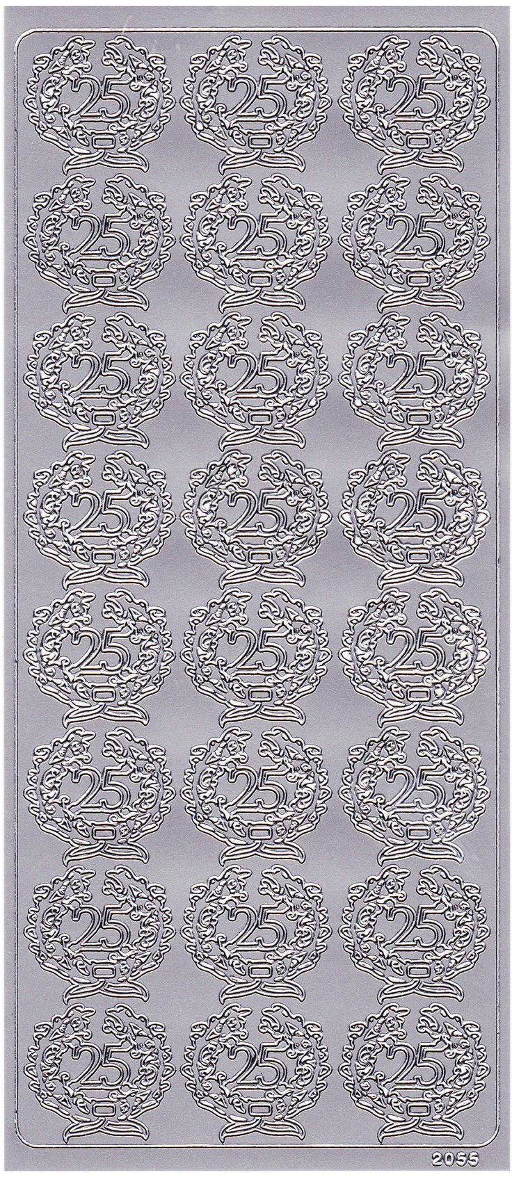 Sølv stickers med tallet 25 fra Sjovogkreativ.dk til sølvbryllup, 25 års jubilæum og 25 års fødselsdag.