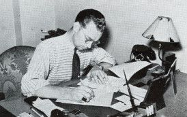 Ken Kennedy WDAY radio, Fargo, North Dakota writing a script. He was a very important person in the beginning of Peggy Lee's singing career.