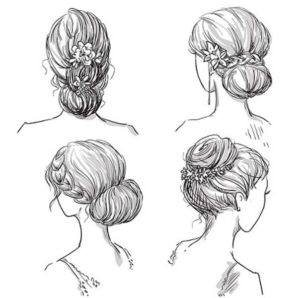30 Simple And Beautiful Bun Hairstyles For All Occasions Hair Sketch How To Draw Hair Hair Vector
