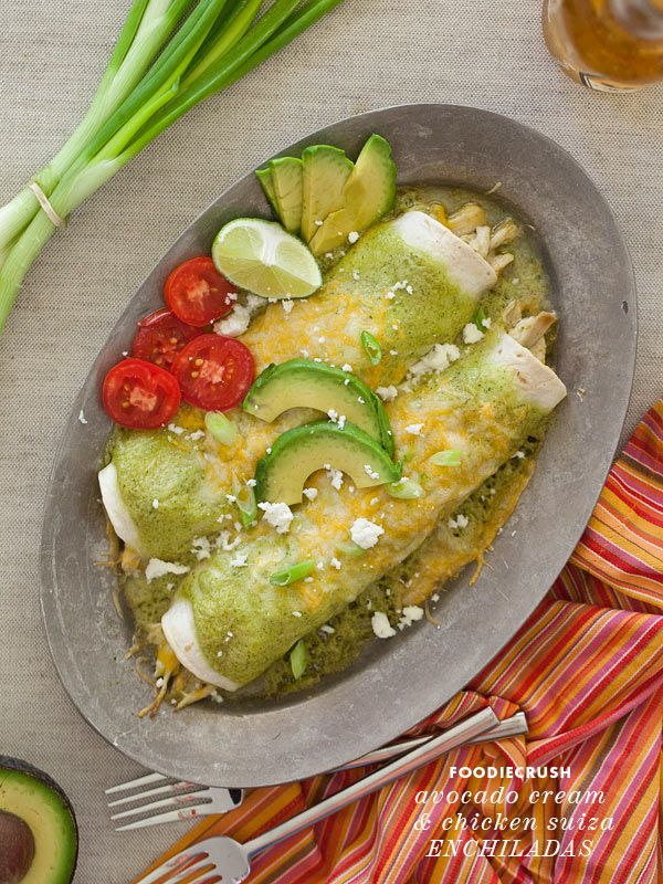 Avocado Cream Chicken Suiza Enchilada from FoodieCrush