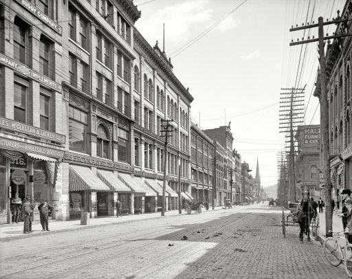 Knoxville, Tennessee, circa 1903. Yet another view of that bustling commercial artery known as Gay Street, home to Broyles, McClellan & Lackey, dealers in Seeds, Fertilizers, Farm Machinery and Buggies, Harness and Horse Goods. - Detroit Publishing Company.
