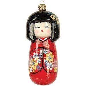 Japanese Koleshi Doll Polish Glass Christmas Ornament Kokeshi Dolls Christmas Decorations Ornaments Christmas Ornaments