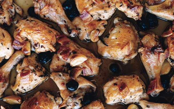 Roast Chicken with Pancetta and Olives - Love love love this baked ...