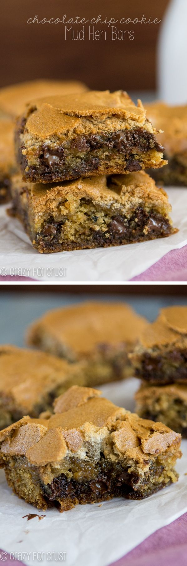 Chocolate Chip Cookie Mud Hen Bars - melty chocolate chip cookie topped with a brown sugar meringue!