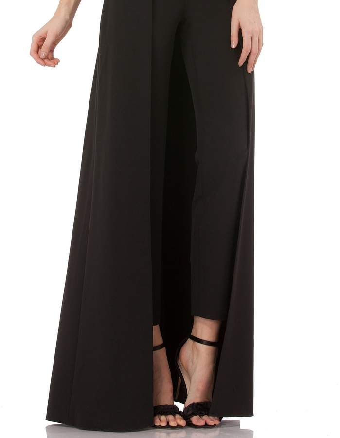 4900ef8fdd8 Kay Unger Stretch Crepe Sleeveless Walk-thru Pant And Overlay Skirt Jumpsuit   Crepe Sleeveless Stretch