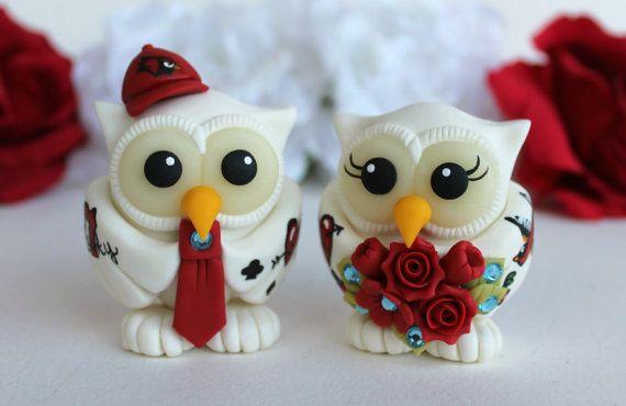 Tattoo wedding owl cake topper rockabilly wedding by PerlillaPets